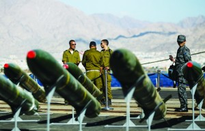 M302 rockets found aboard the Klos C ship are displayed at an Israeli navy base in Eilat on Monday. (REUTERS/Amir Cohen)