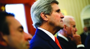 Secretary of State John Kerry (C) listening to remarks by Israel's Prime Minister Binyamin Netanyahu and President Barack Obama before their meeting in the Oval Office of the White House in Washington on Monday. (REUTERS/Jonathan Ernst )