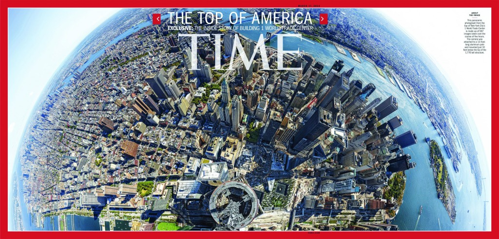 The cover of Time Magazine featuring a panoramic photo taken from atop 1 World Trade Center. (AP Photo/Time Inc., Jonathan D. Woods and Michael Franz)