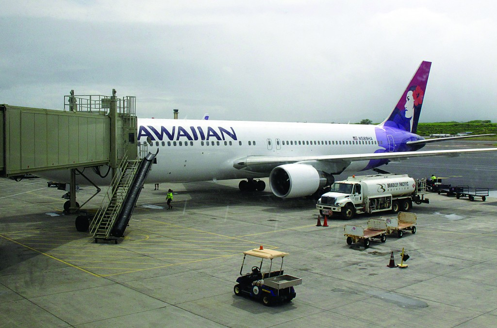 Hawaiian Airlines Flight 45 arrives from San Jose, Calif., in Kahului Airport in Kahului, Hawaii. A 15-year-old boy on Sunday scrambled over an airport fence, crossed a tarmac and climbed into a jetliner's wheel well, then flew for five freezing hours to Hawaii on a misadventure that forced authorities to take a hard look at the security system that protects the nation's airline fleet.  (AP Photo/Oskar Garcia)