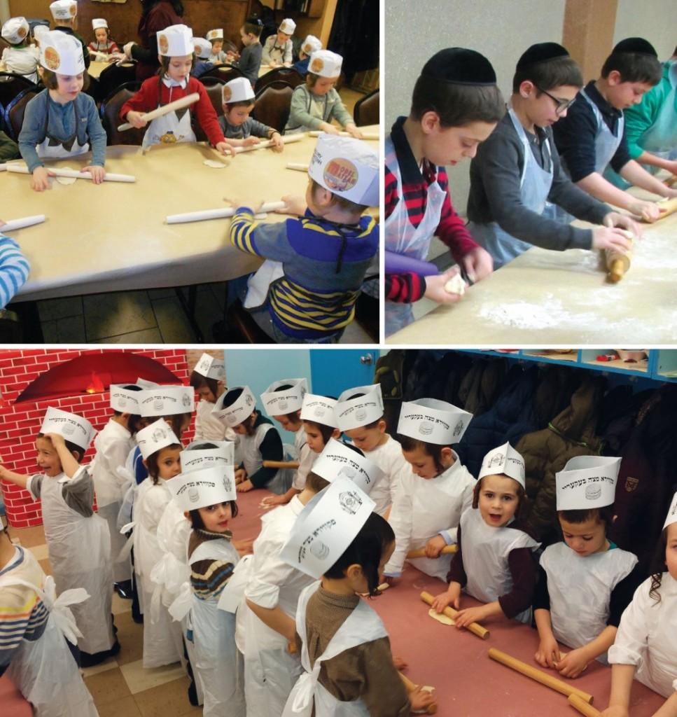 (Top L) Yeshiva Chasan Sofer preschoolers baking matzos; (Top R) Rabbi Shmuel Milsteins's talmidim in Yeshiva Torah Temimah learning how to bake matzos for Pesach; (Bottom) Skver - Boro Park kindergarten prepping for Pesach. (Dee Voch)