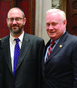 The bill's sponsors: Senators Simcha Felder and Martin Golden at the Capitol.