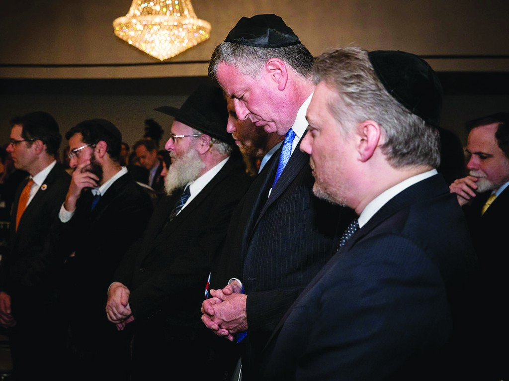 Mayor Bill de Blasio at a Holocaust commemorative event Monday night at the Lincoln Square Synagogue in Manhattan.