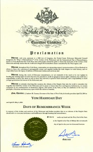 """The proclamation issued Tuesday by Gov. Andrew Cuomo declaring this week the """"Days of Remberance Week"""" in the state."""