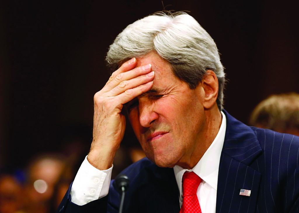 Secretary of State John Kerry pauses as he testifies before the Senate Foreign Relations Committee while on Capitol Hill in Washington, Tuesday.  (REUTERS/Larry Downing)