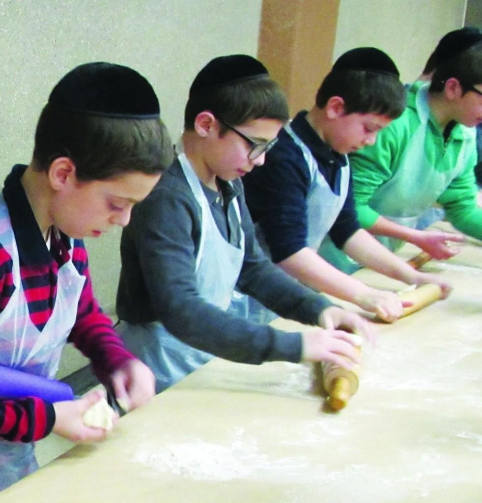 1-2. Talmidim in Munkatcher yeshivah learn how to help their mommies for Pesach. 3. Rabbi Shmuel Milsteins's talmidim in Yeshiva Torah Temimah learning how to bake matzos for Pesach. (JDN/Torah Temima)