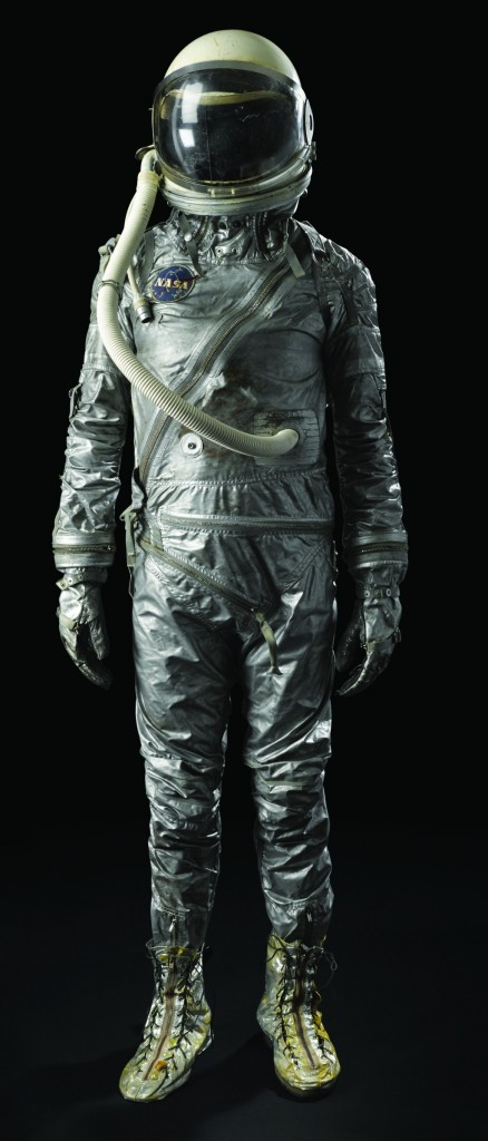 A space suit from NASA's Mercury era which will be among the artifacts of space history that will be offered at auction in New York on Tuesday. (AP Photo/Bonhams)