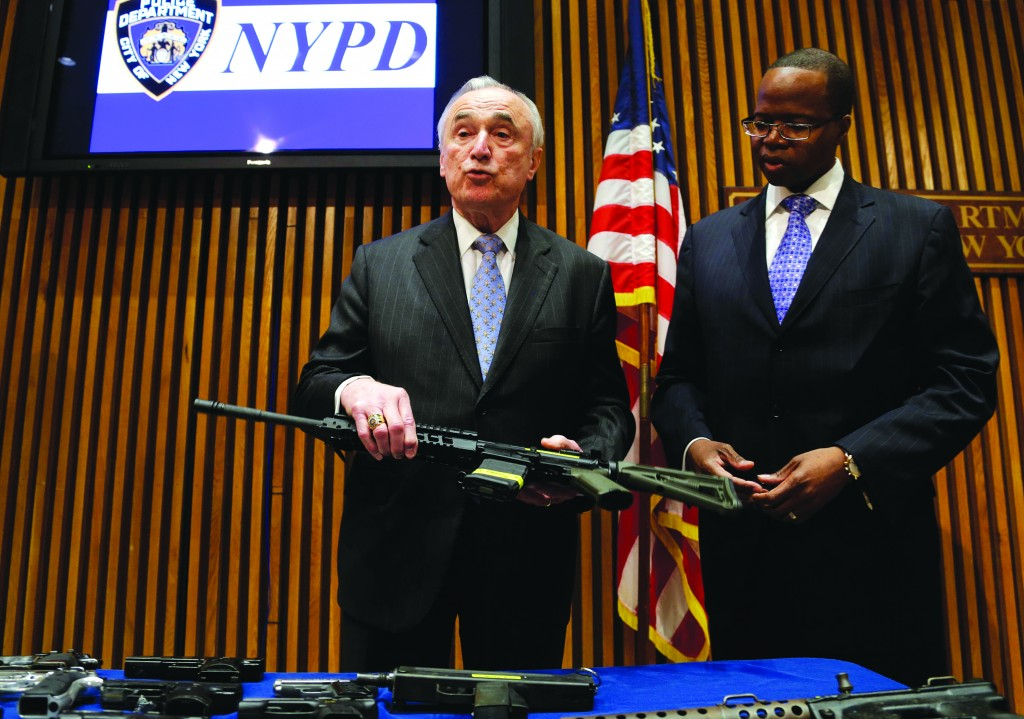"Police Commissioner Bill Bratton on Wednesday, at an unrelated news conference about the busting of a gun runner gang, speaks about the murder case of  Reb Menachem Stark, Hy""d (inset). Brooklyn District Attorney Kenneth Thompson is at the right. (AP Photo/Seth Wenig)"