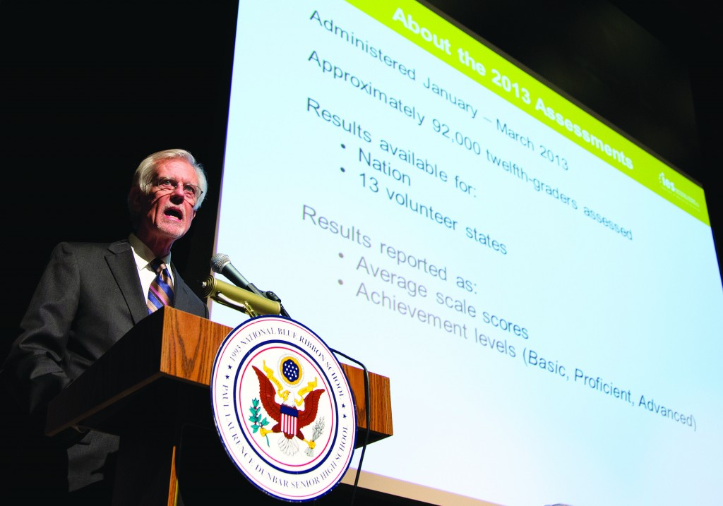 John Easton, Director of the Institute of Education Sciences and Acting Commissioner of the National Center for Education Statistics, speaks during a program at Dunbar High School, Wednesday, in Washington, to announce results of The Nation's Report Card. (AP Photo/Carolyn Kaster)