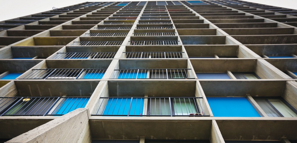 A section of the Riverside Plaza apartments where a 15-month-old boy survived an 11-story fall from a balcony in Minneapolis. (AP Photo/The Star Tribune, Renee Jones Schneider)