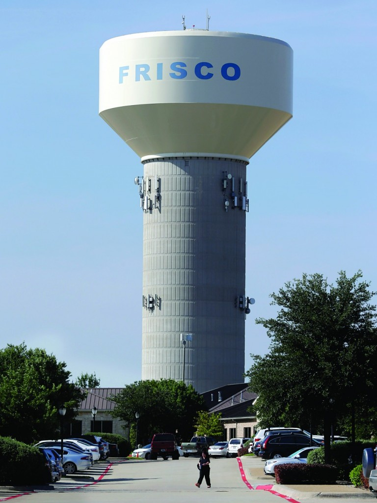 A water tower is shown in Frisco, Texas, Thursday. (AP Photo/LM Otero)