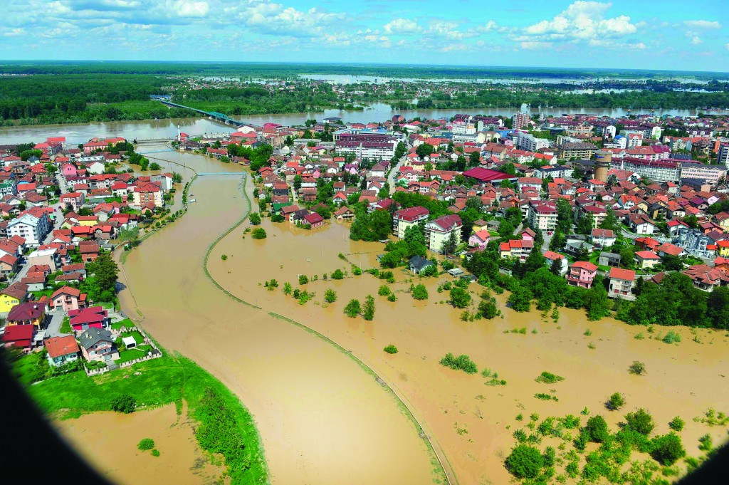 An aerial view of the flooded area near the Bosnian town of Brcko along the river Sava, 200 kms north of Bosnian capital of Sarajevo. Three months' worth of rain fell on the Balkan region in three days, producing the worst floods since rainfall measurements began 120 years ago.