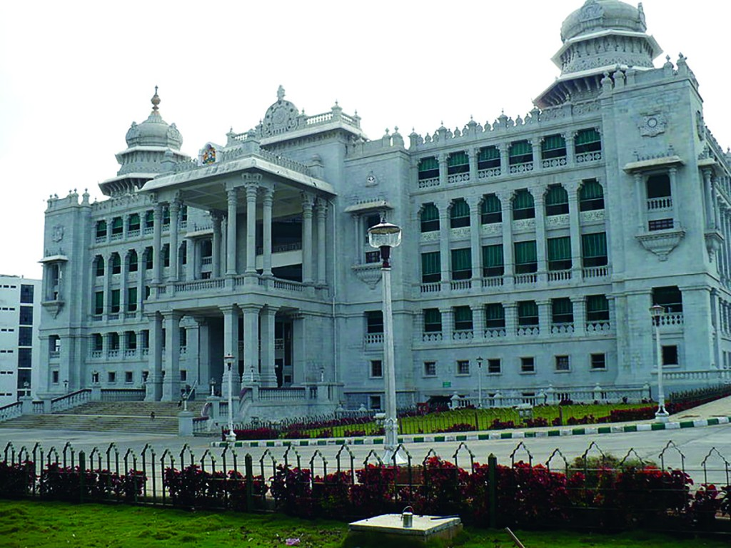 The Vikasa Soudha houses many state ministries in Bengaluru, also known as Bangalore.