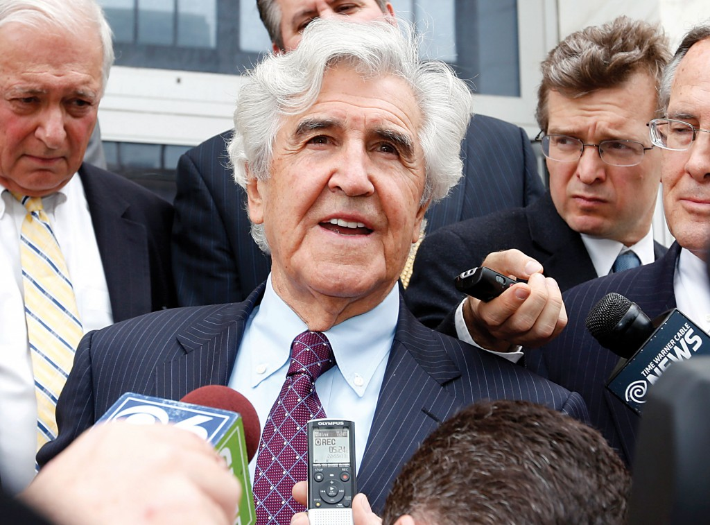 Former state Sen. Joe Bruno on Friday after he was acquitted.(AP Photo/Mike Groll)