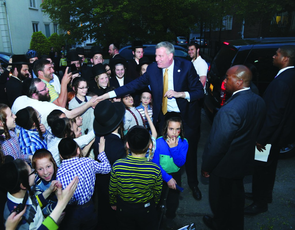 Welcome Back, Mr. Mayor: Bill de Blasio, on his first mayoral visit to Boro Park, which he represented as a city councilman until 2009, was greeted Wednesday evening with boisterous applause from dozens of children and neighbors. (JDN)
