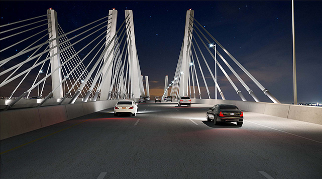 An artist's rendering of how the new Goethals Bridge will look at night. (Port Authority of New York and New Jersey)