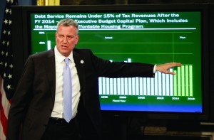 Mayor Bill de Blasio on Thursday at his City Hall presentation of the budget. (AP Photo)