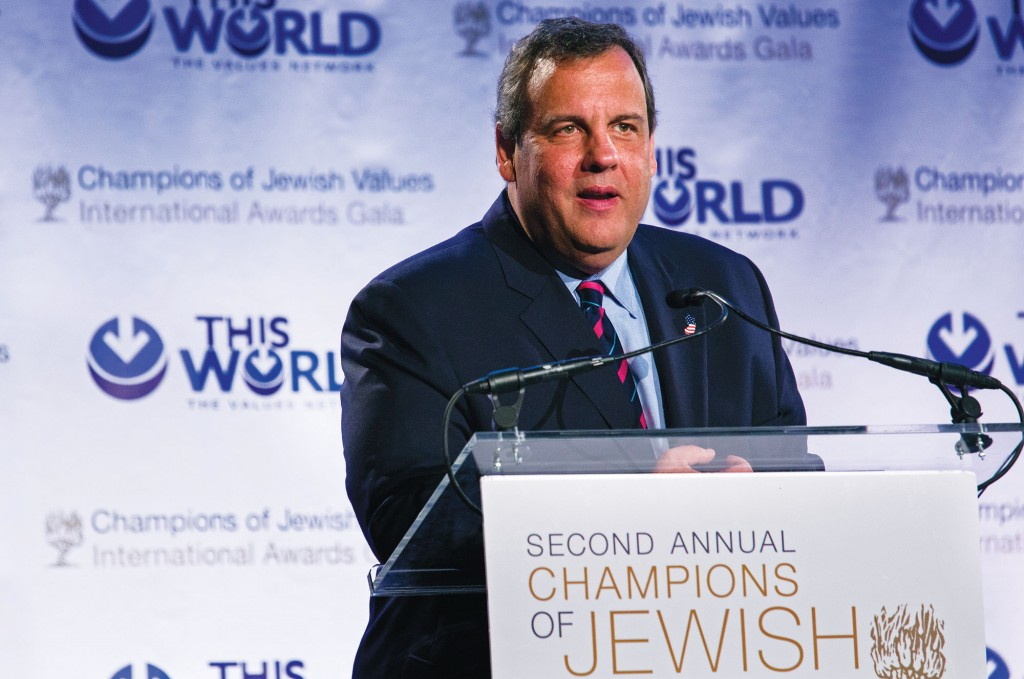 New Jersey Gov. Chris Christie on Sunday addresses the Second Annual Champions of Jewish Values Awards Gala in New York. (AP Photo/Craig Ruttle)