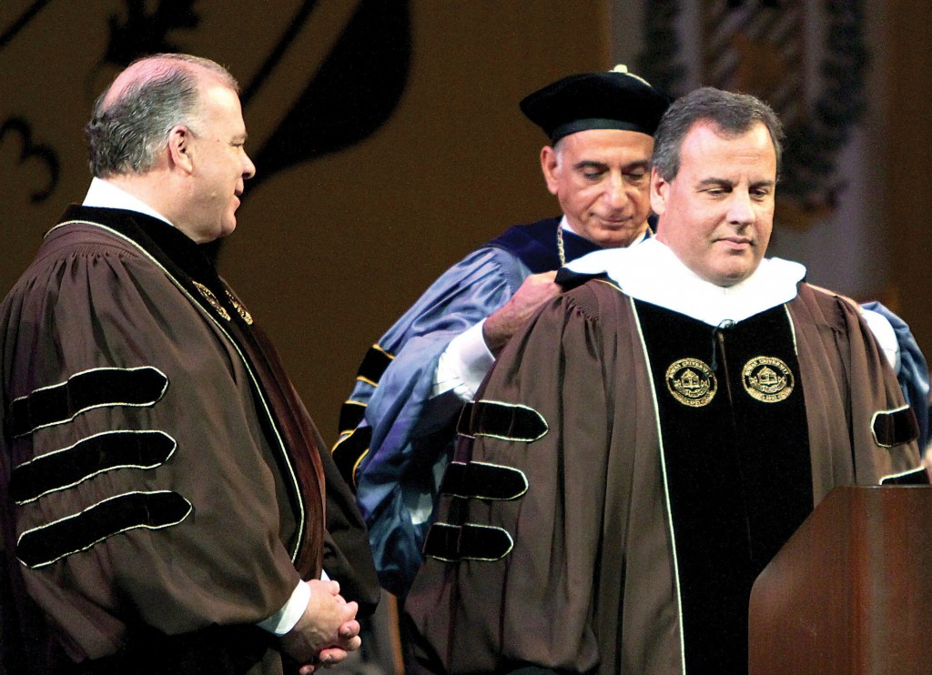 Gov. Chris Christie on Friday as he was presented with an honorary degree at Rowan University. (AP Photo/South Jersey Times, Lori M. Nichols)