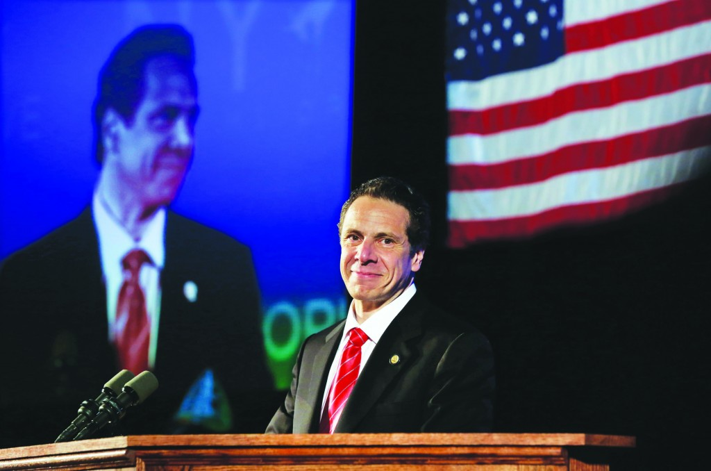 Gov. Andrew Cuomo on Thursday is introduced as his party's nominee for re-election. (AP Photo/Richard Drew)