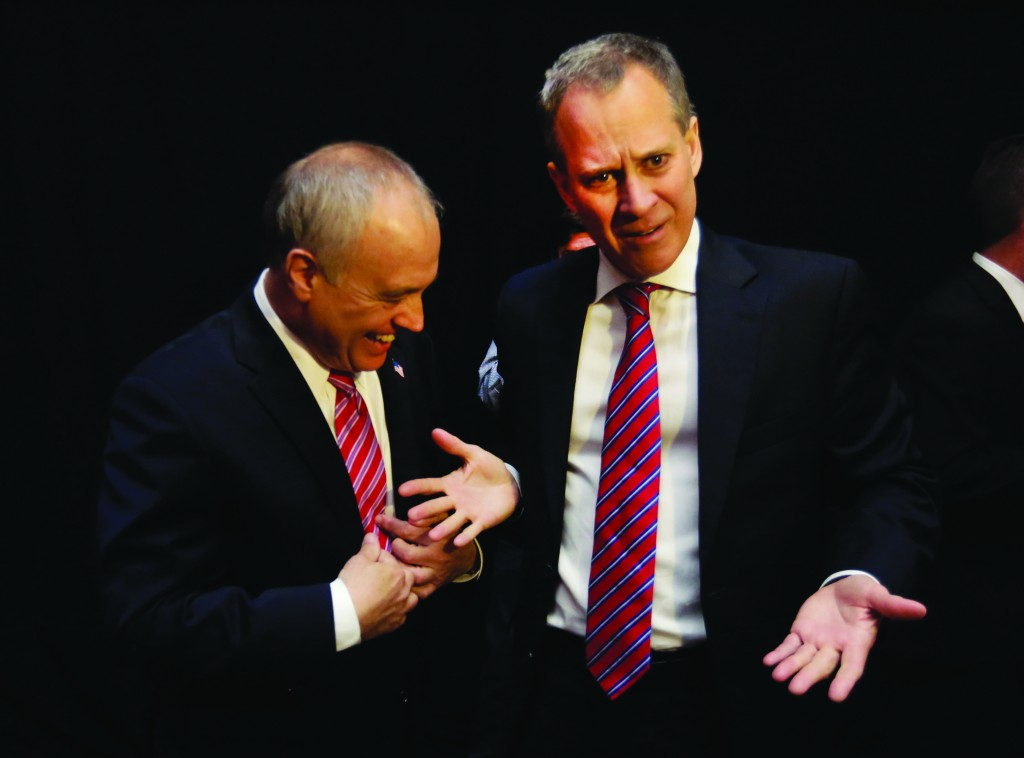 Comptroller Thomas DiNapoli (L) and Attorney General Eric Schneiderman on Wednesday compare similar neckties at the Democratic Convention. (AP Photo/Richard Drew)