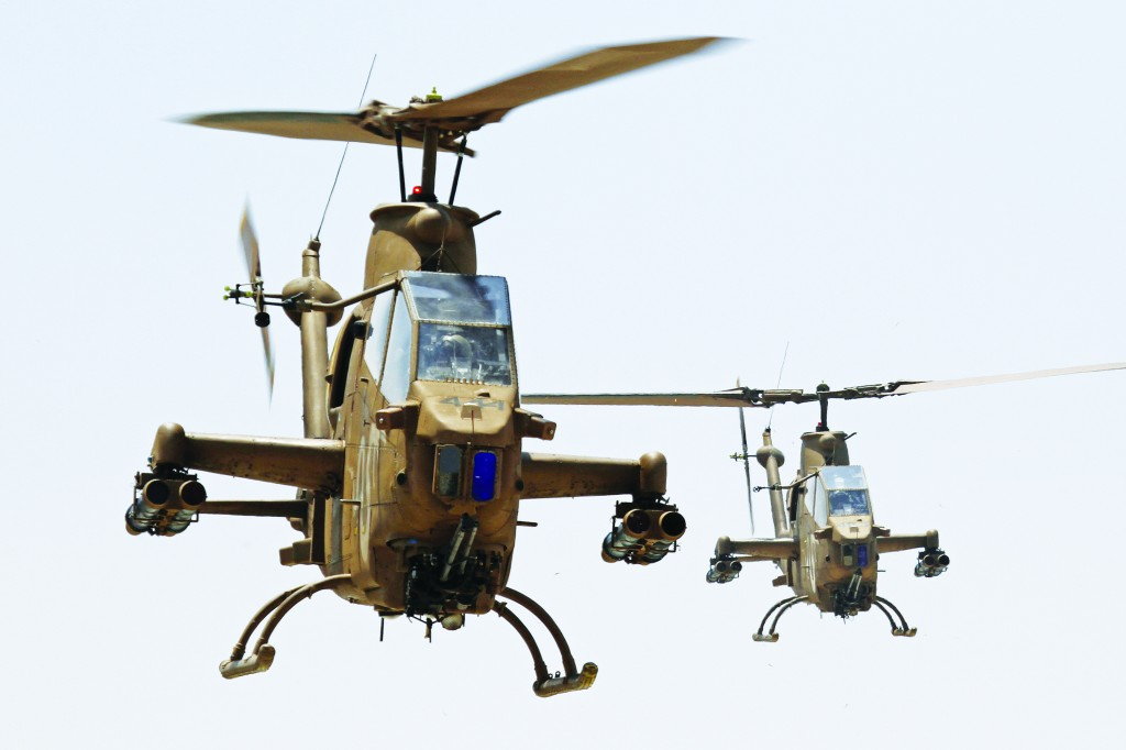 The Israeli combat Cobra AH-1 helicopter called Tzefa.  (Ofer Zidon/Flash90)
