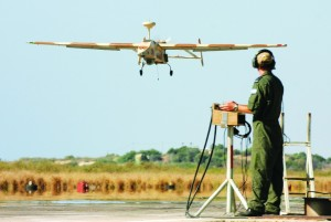A Searcher II (Kochav Lavan) drone returns from a reconnaissance mission. (Tsahi Ben-Ami / Flash90)