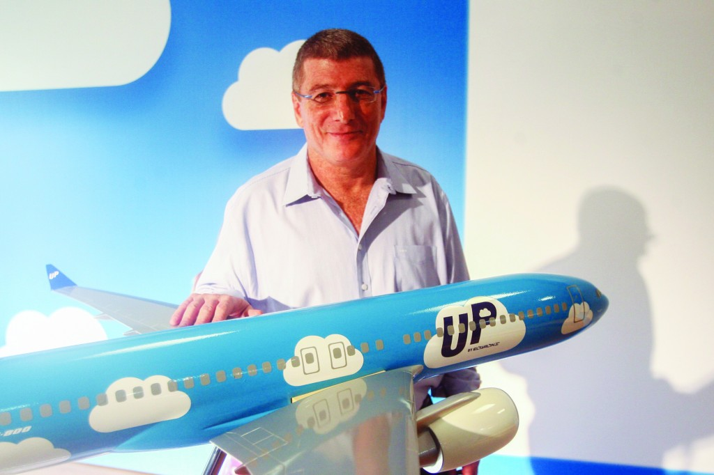 "Eliezer Shkedy, former CEO of El Al, seen during a launching for the new low-cost brand ""Up"" in November to compete with European carriers in the Open Skies regime. (Roni Schutzer/Flash90)"