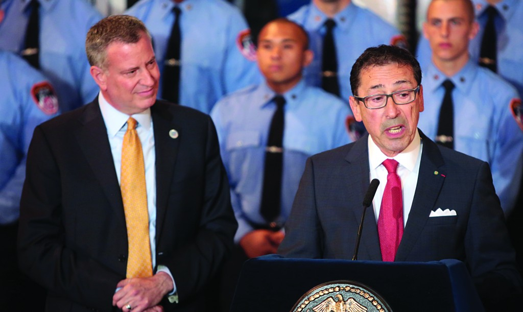 Daniel Nigro (R) speaks Friday after being appointed fire commissioner by Mayor Bill de Blasio. (Ed Reed/City Hall)