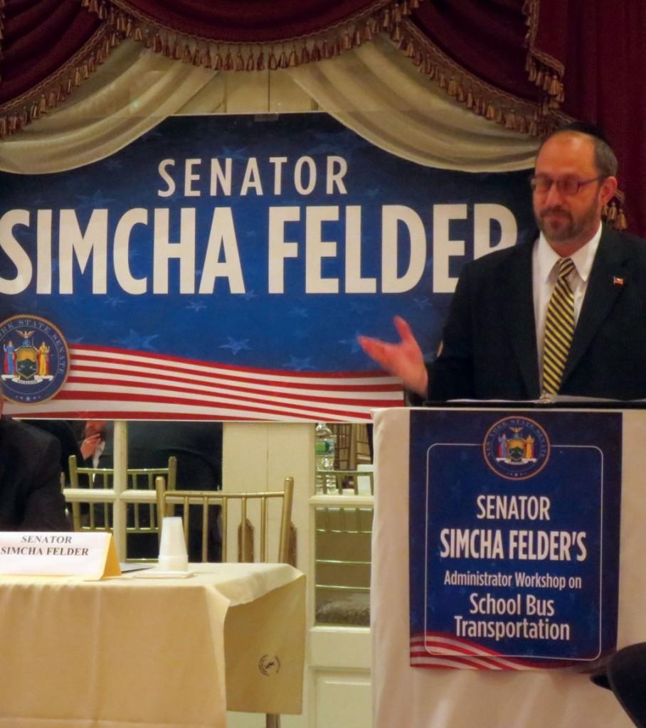 State Sen. Simcha Felder on Thursday at the workshop.