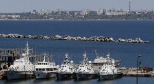 Ukrainian Coast Guard vessels are docked in the Black Sea port of Odessa, Wednesday. (REUTERS/Gleb Garanich)