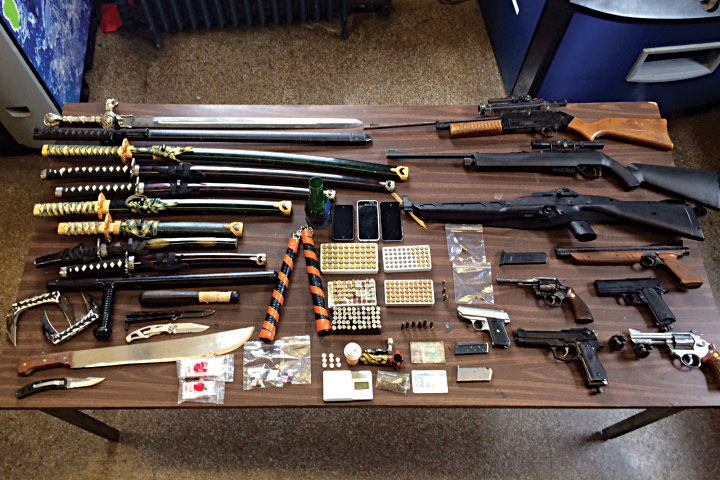 A huge weapons arsenal was discovered Thursday n(ight in a residence at the edge of Boro Park. (NYPD)