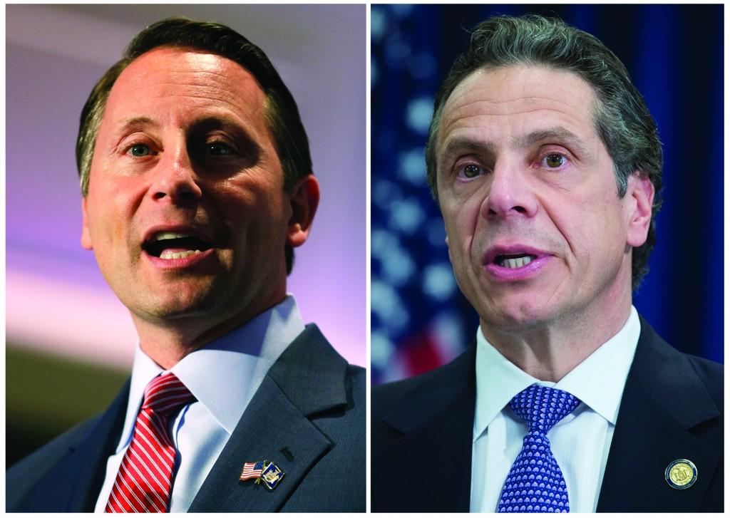 Republican Rob Astorino (L) and Gov. Andrew Cuomo, a Democrat. (AP Photo)