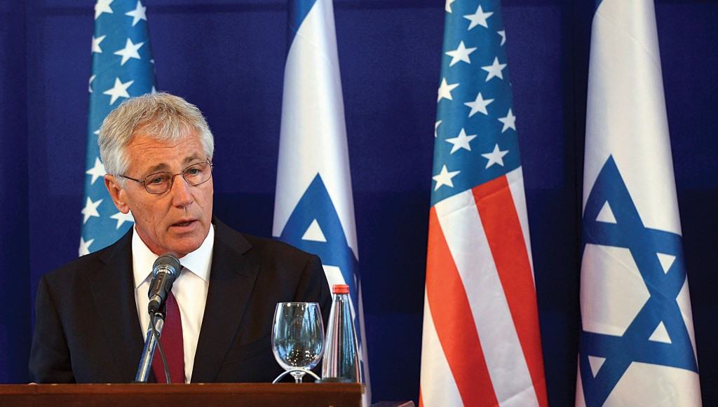 Defense Secretary Chuck Hagel speaks during a news conference in Israel on Thursday. (REUTERS/Mandel Ngan/Pool)