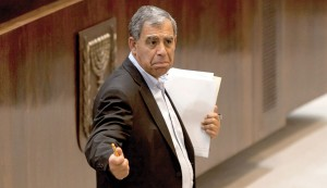 Deputy Finance Minister Miki Levy (Yesh Atid) gesturing in the Knesset. (Flash 90)