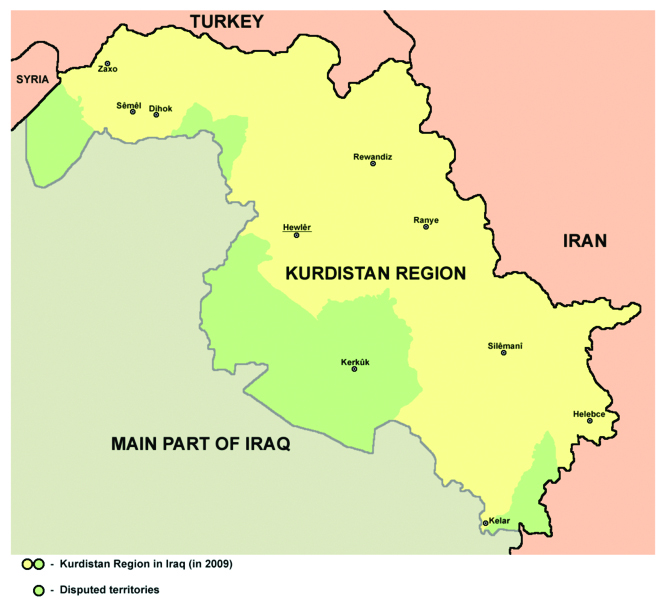 Map of Kurdistan Region in Iraq in 2009, including the disputed territories (Kirkuk with its province, and other).(wik)