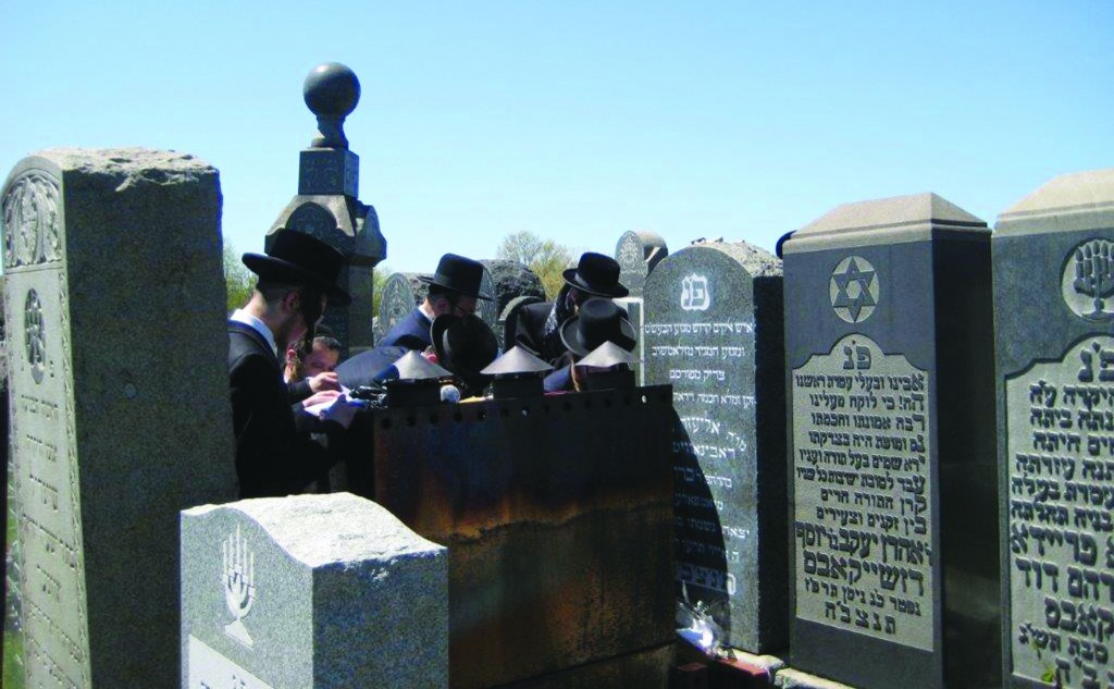 "Mispallelim at the tziyun of the Yampola Rebbe, zt""l, Harav Eliezer Chaim Rabinowitz, on his 98th yahrtzeit, Monday, at Mount Judah Cemetery in Queens. (Hamodia Photo)"
