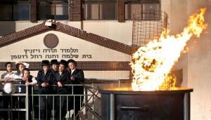 At a Lag BaOmer bonfire in Bnei Brak. (REUTERS/Nir Elias)