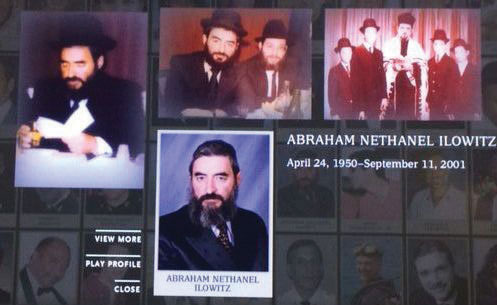 """A photo montage of Reb Avrohom Nesanel Ilowitz, Hy""""d, at the Sept. 11 Memorial Museum, which opened Friday for family members and will open this Thursday for the general public."""