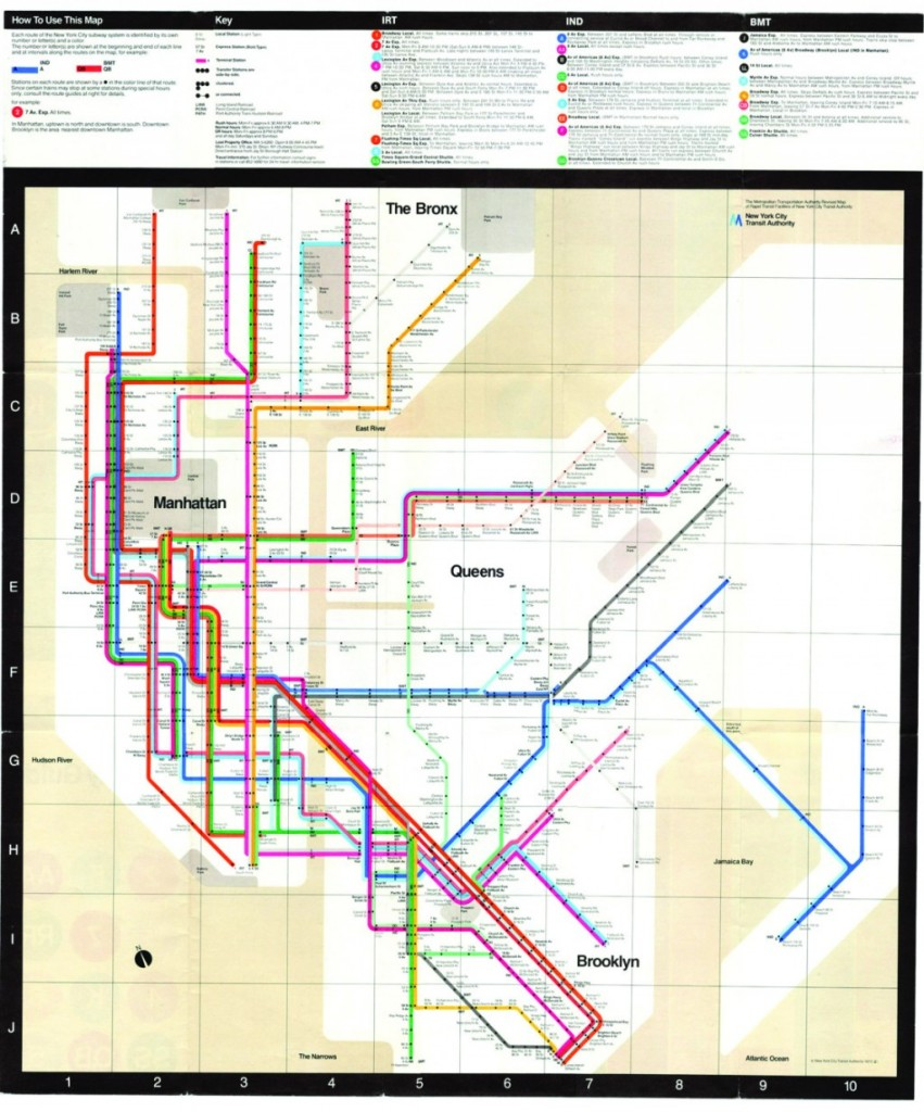 A New York City subway map designed by Massimo Vignelli that was in use until 1979. (MTA)
