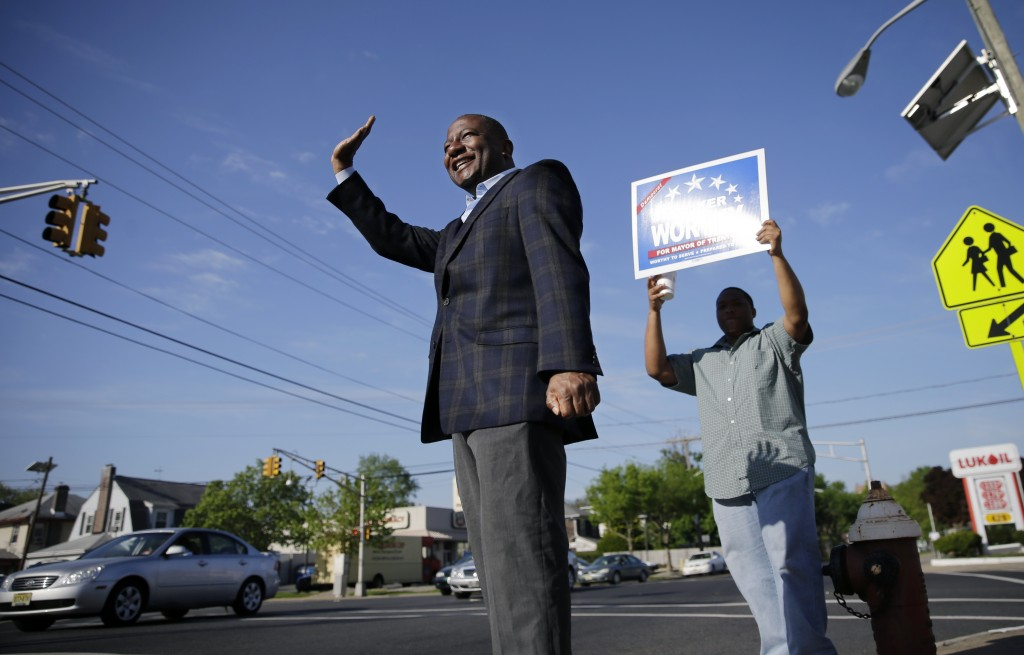 Trenton mayoral candidate Walker Worthy on Monday, a day before elections to replace Mayor Tony Mack who was convicted at a federal corruption trial. (AP Photo/Mel Evans)