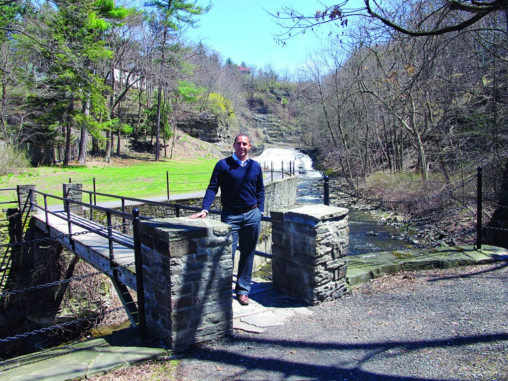 Ithaca Mayor Svante Myrick at one of the city's gorges. (AP Photo/Carolyn Thompson)