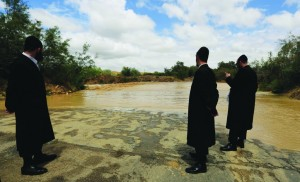 Men looking on the flooded Besor stream in the southern Negev desert, Israel, Thursday, May 8, 2014. (AP Photo/Tsafrir Abayov)