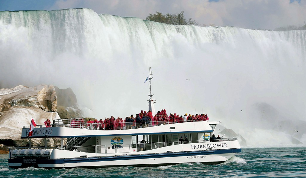 "Passengers last week Wednesday aboard Hornblower's double-decker ""Niagara Wonder"" during a tour for officials and media."