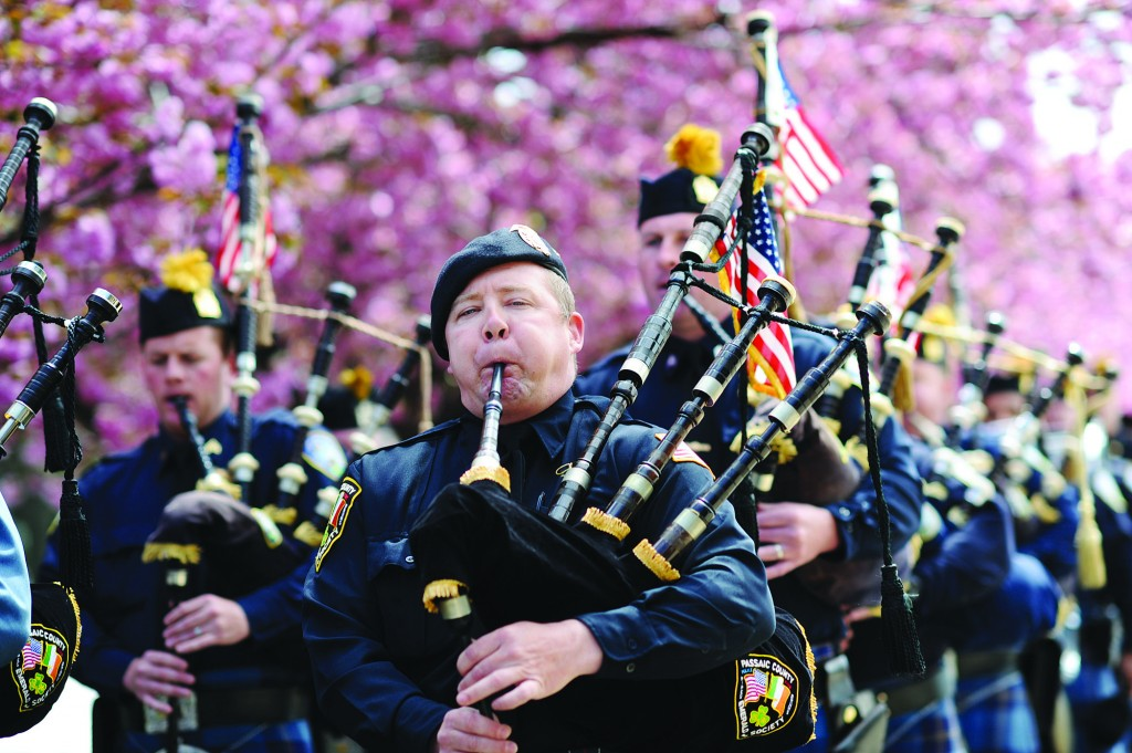 To Honor Their Service: Passaic County Pipes and Drums Corps on Tuesday honor deceased police officers. (AP Photo/The Record of Bergen County, Tyson Trish)