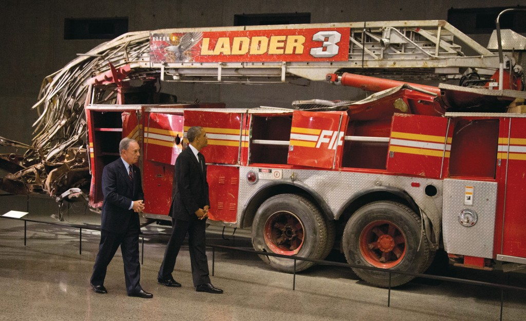 President Obama and former mayor Michael Bloomberg on Thursday tour the destroyed Ladder 3 at the 9/11 Museum. (AP Photos)