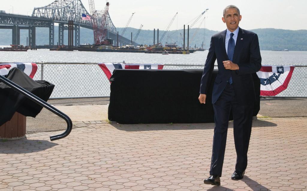 President Barack Obama on Wednesday arrives to speak in Tarrytown, N.Y., near the Tappan Zee Bridge. (AP Photo)