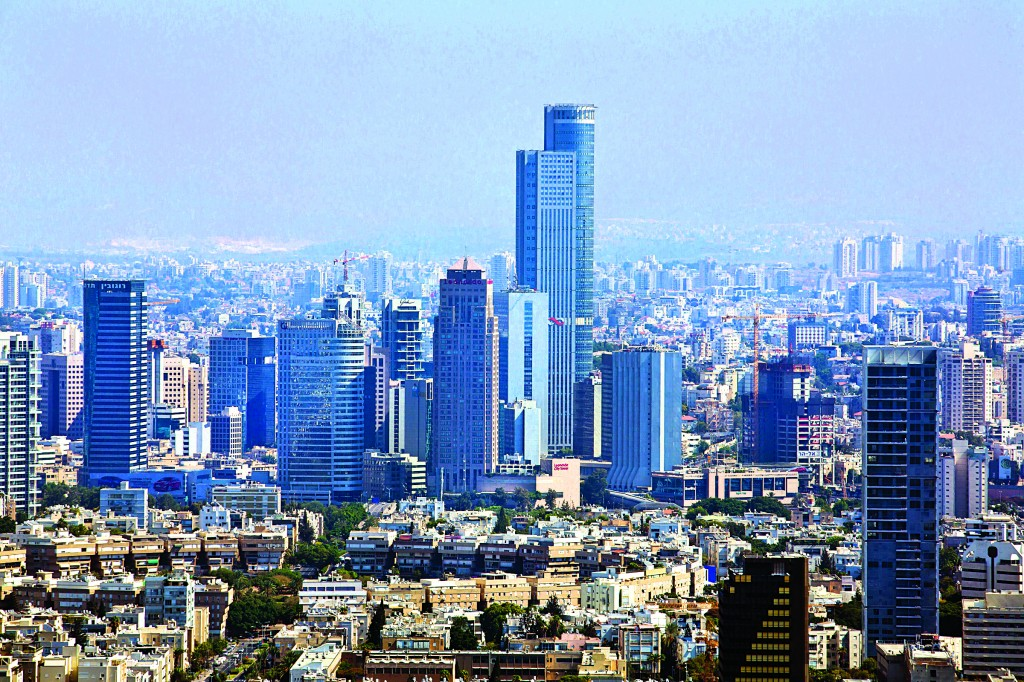 Partial view of the Tel Aviv skyline, where many businesses are headquartered. (Moshe Shai/FLASH90)