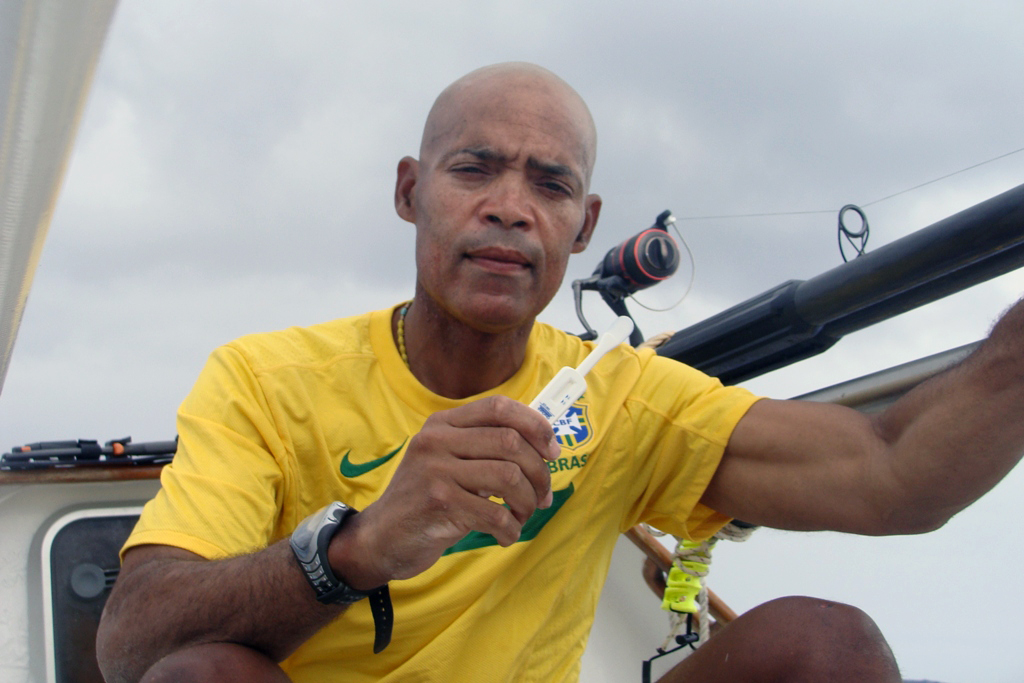Victor Mooney on the Spirit of Malabo in the Atlantic Ocean. (AP Photo/G.C. Media)