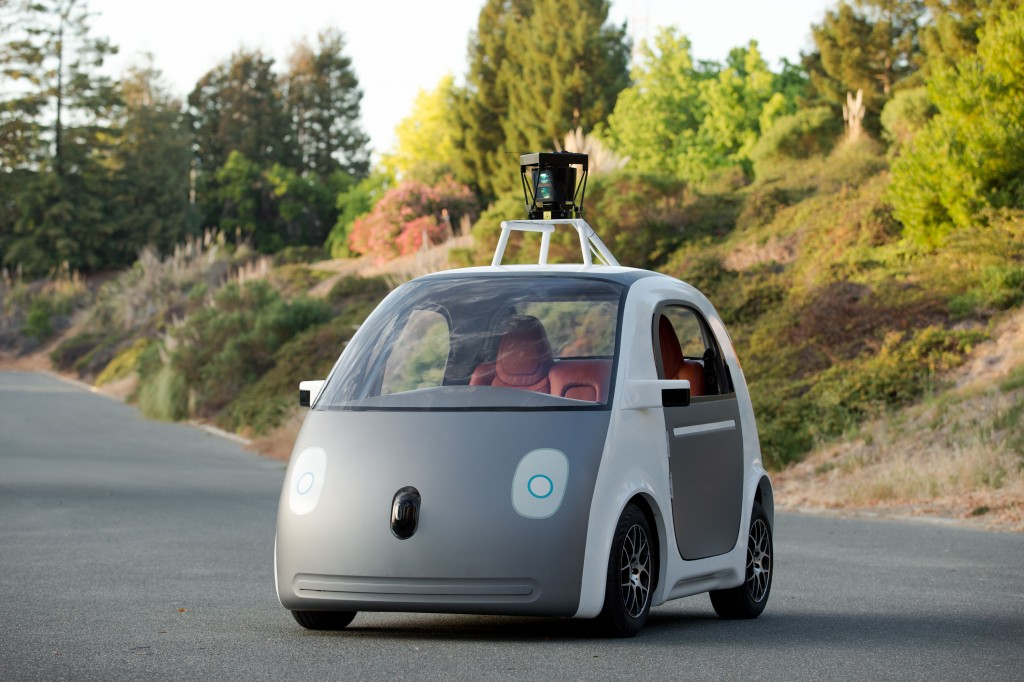 This image, provided by Google, shows a very early version of Google's prototype self-driving car. The two-seater won't be sold publicly, but Google said it hopes that by this time next year, 100 prototypes will be on public roads. (AP Photo/Google)
